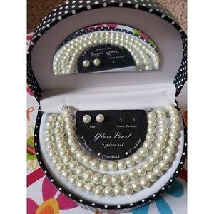 Glass Pearl 5- pc set Jelwery box